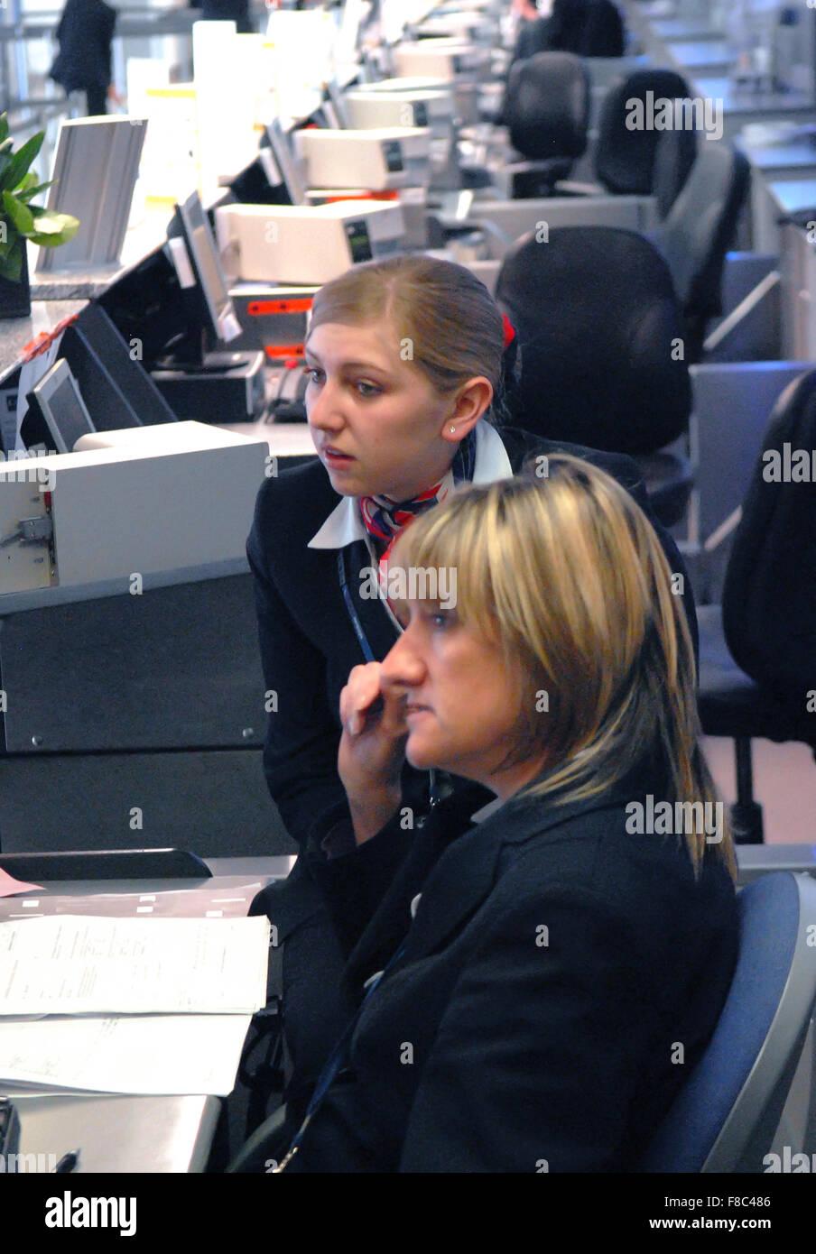 Check in desks at Aberdeen Airport in Aberdeen, Scotland. - Stock Image