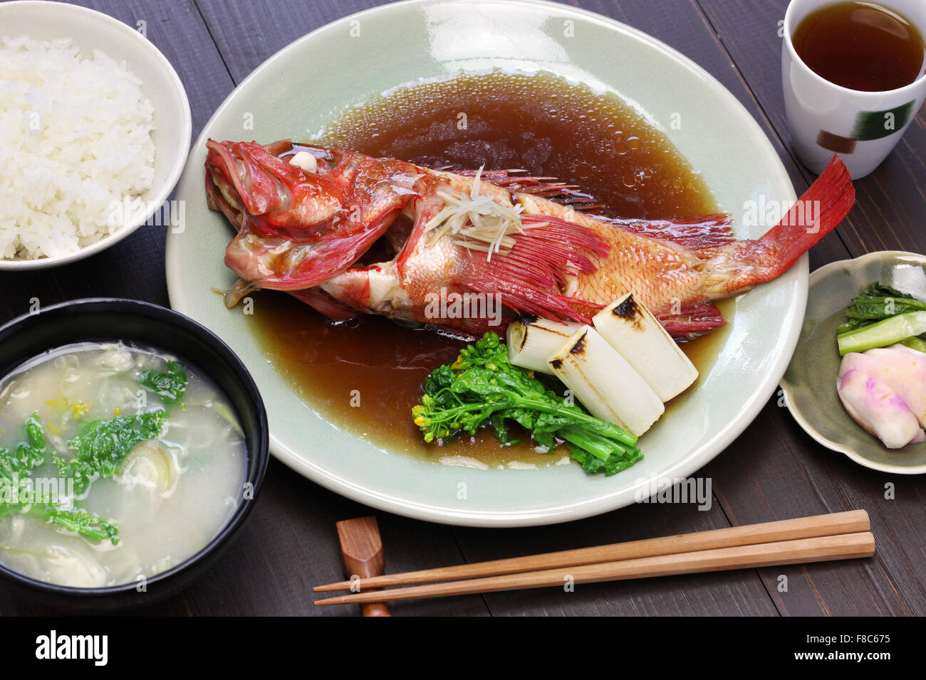simmered kinki rockfish with rice and miso soup, japanese cuisine - Stock Image