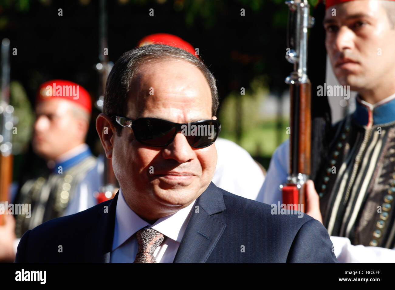 Athens, Greece, 8, November 2015, Egyptian President Abdel Fattah el-Sissi,  inspects a guard of honour outside - Stock Image