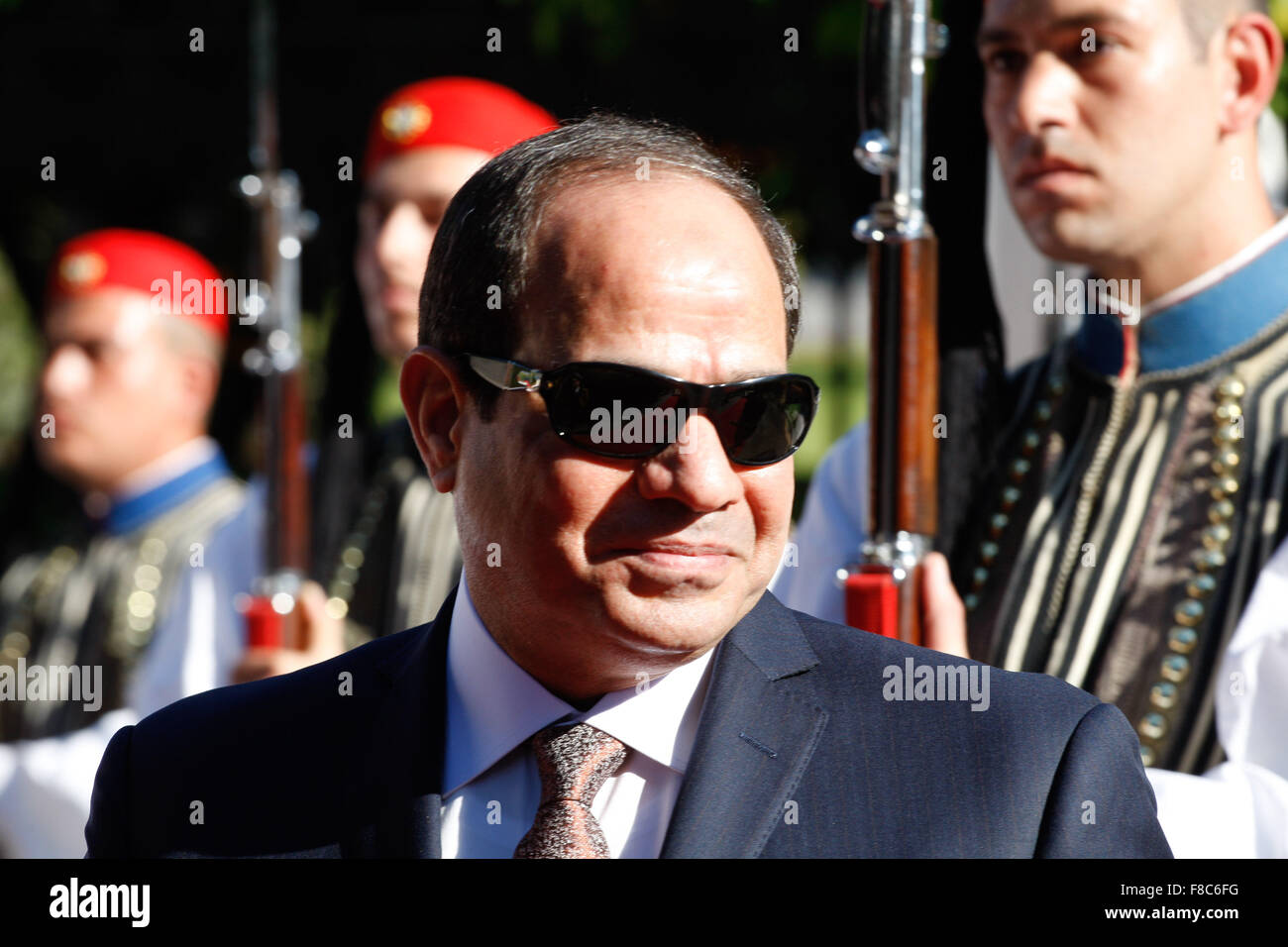 Egyptian President Abdel Fattah el-Sissi,  inspects a guard of honour outside the Presidential palace. Egyptian - Stock Image