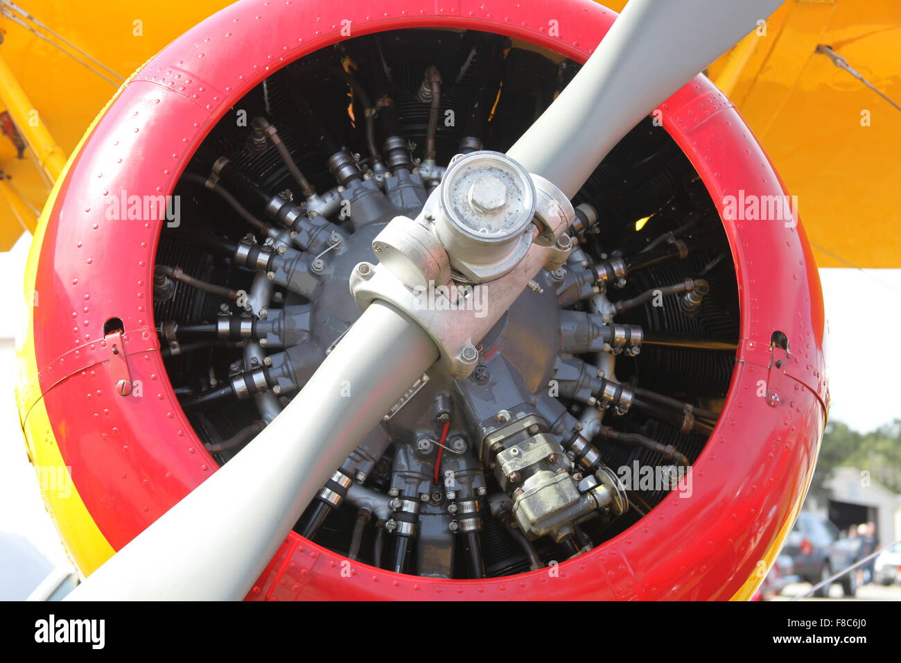 OLD BI PLANE ENGINE PHOTO WITH PROPELLER - Stock Image