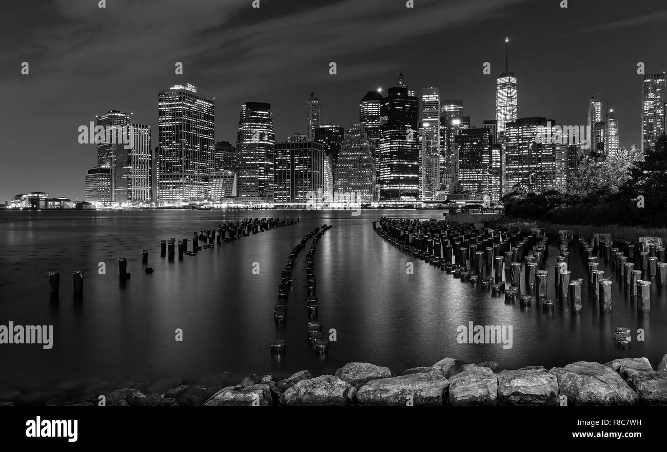 Black and white New York City at night, USA. - Stock Image