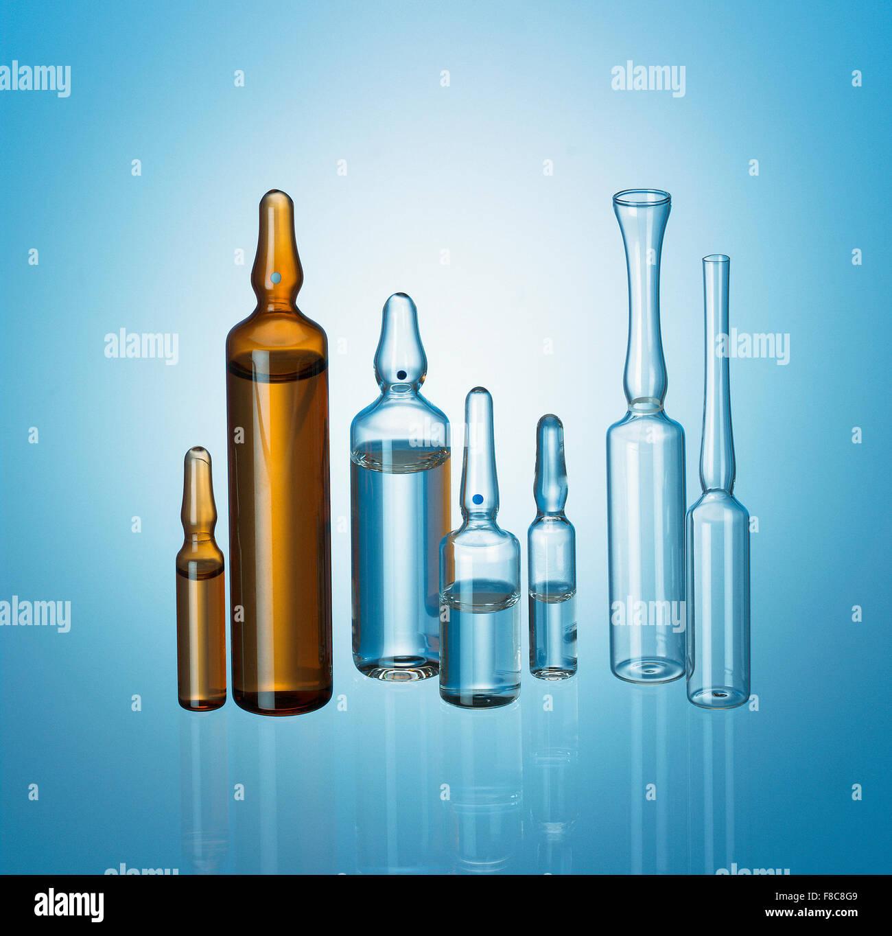 line of pharmaceutical phial - Stock Image