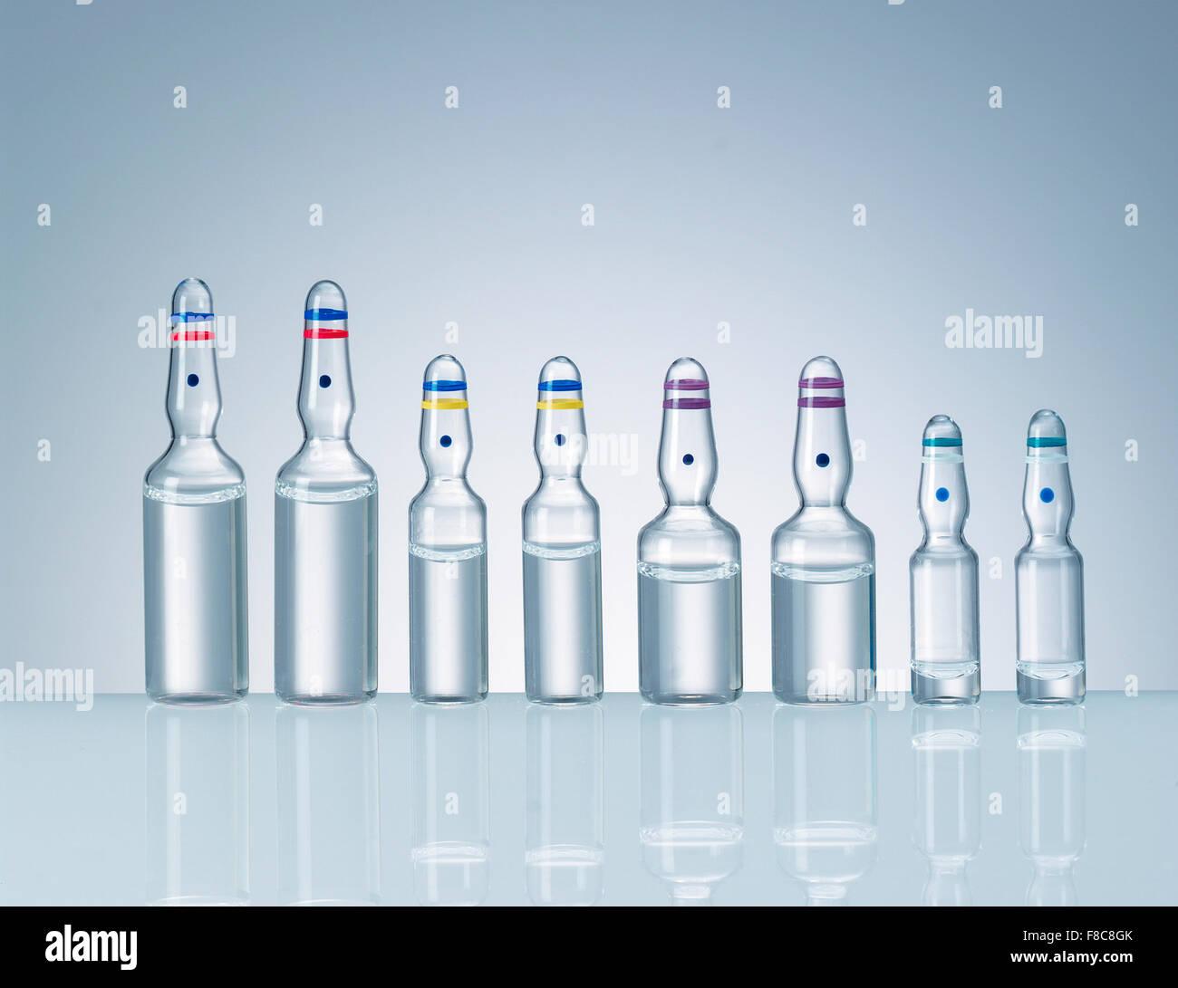 line of pharmaceutical phial Stock Photo