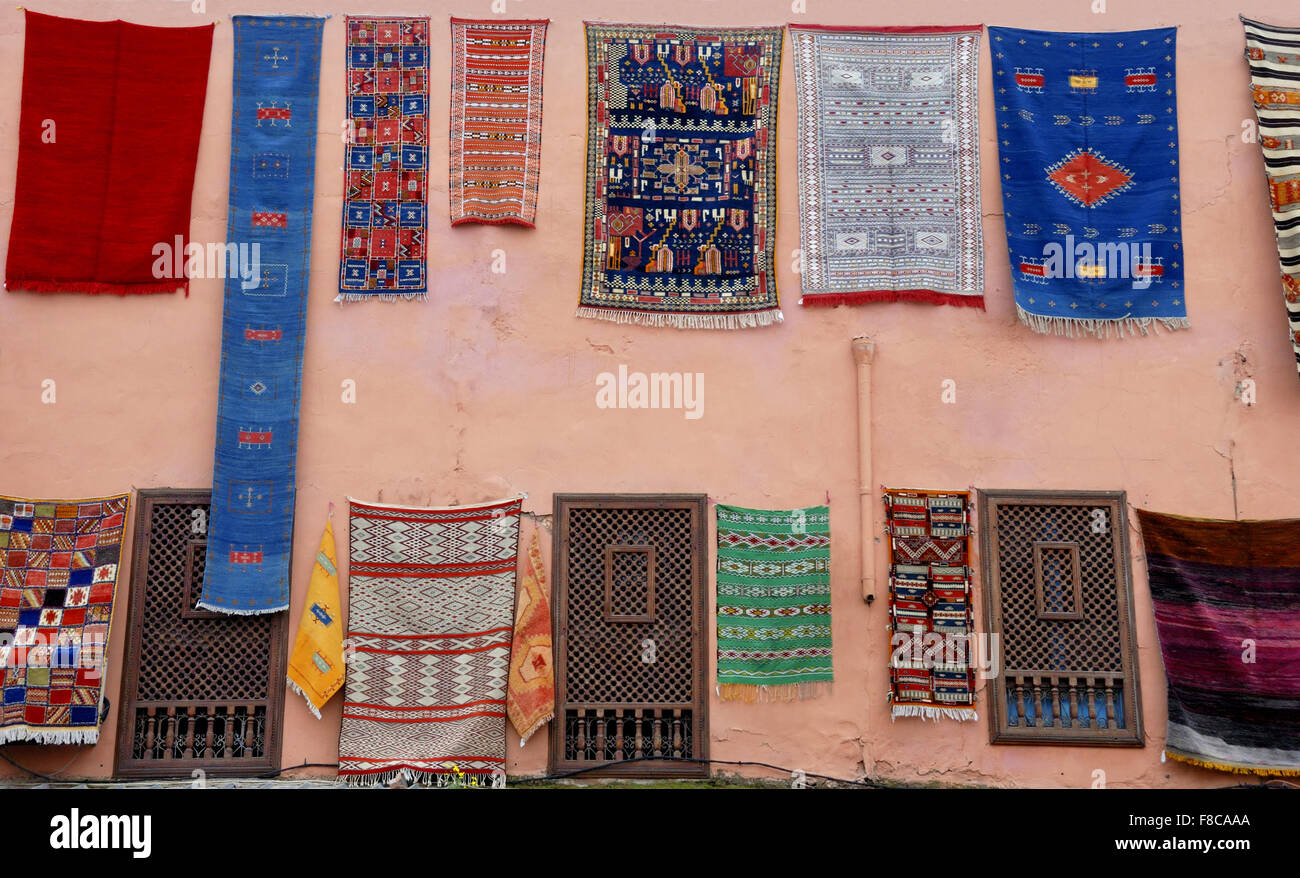 Carpets for sale at a shop in Marrakesh,Morrocco - Stock Image