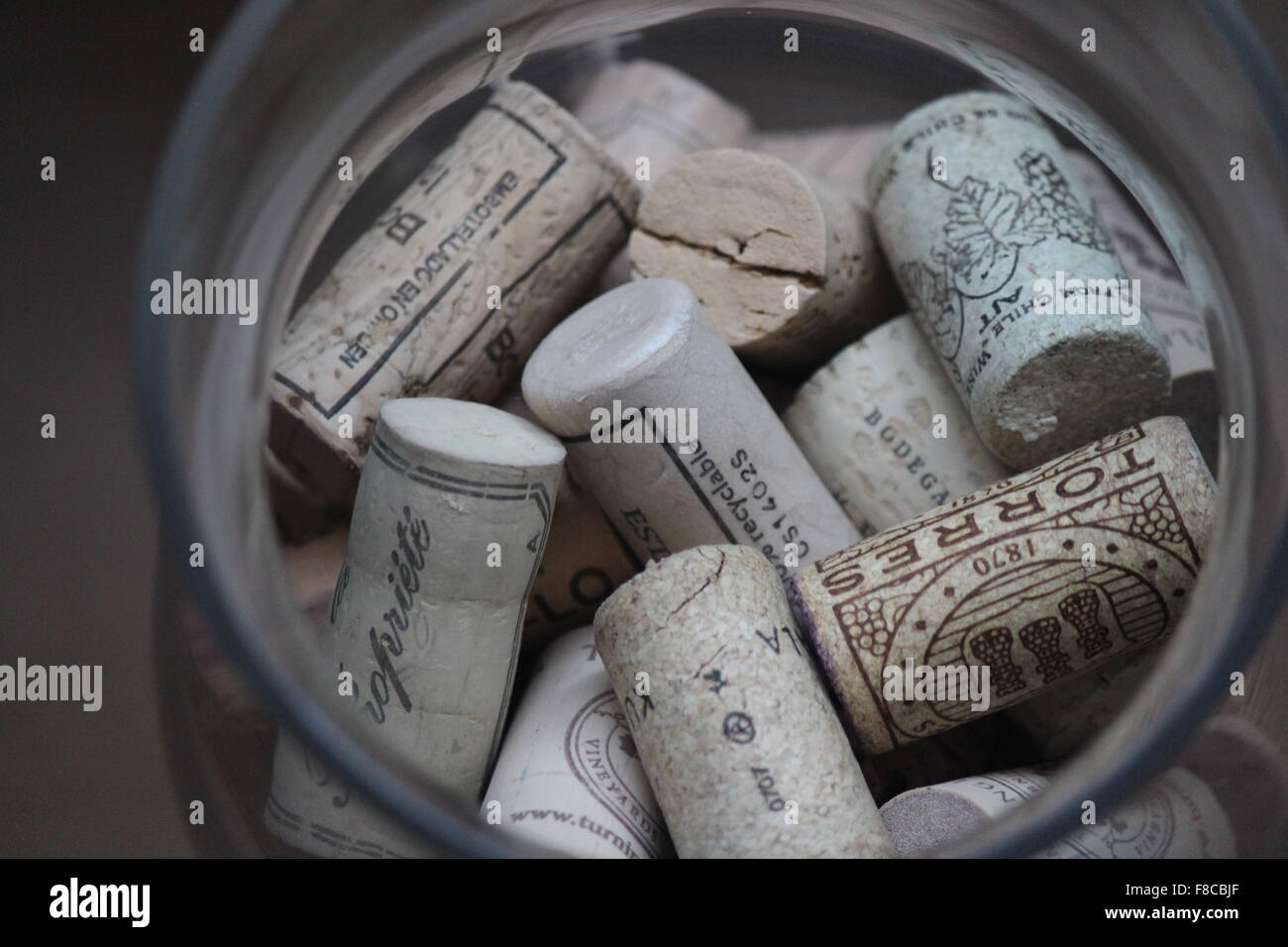 There is lot of wine stoppers. It reminds on good evenings with family and friends. - Stock Image