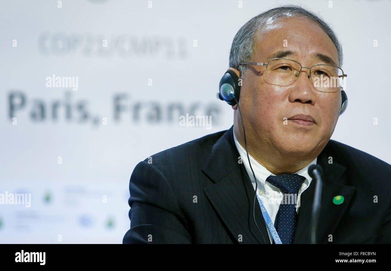 Paris, France. 8th Dec, 2015. Xie Zhenhua, China's special representative on climate change, attends a press - Stock Image