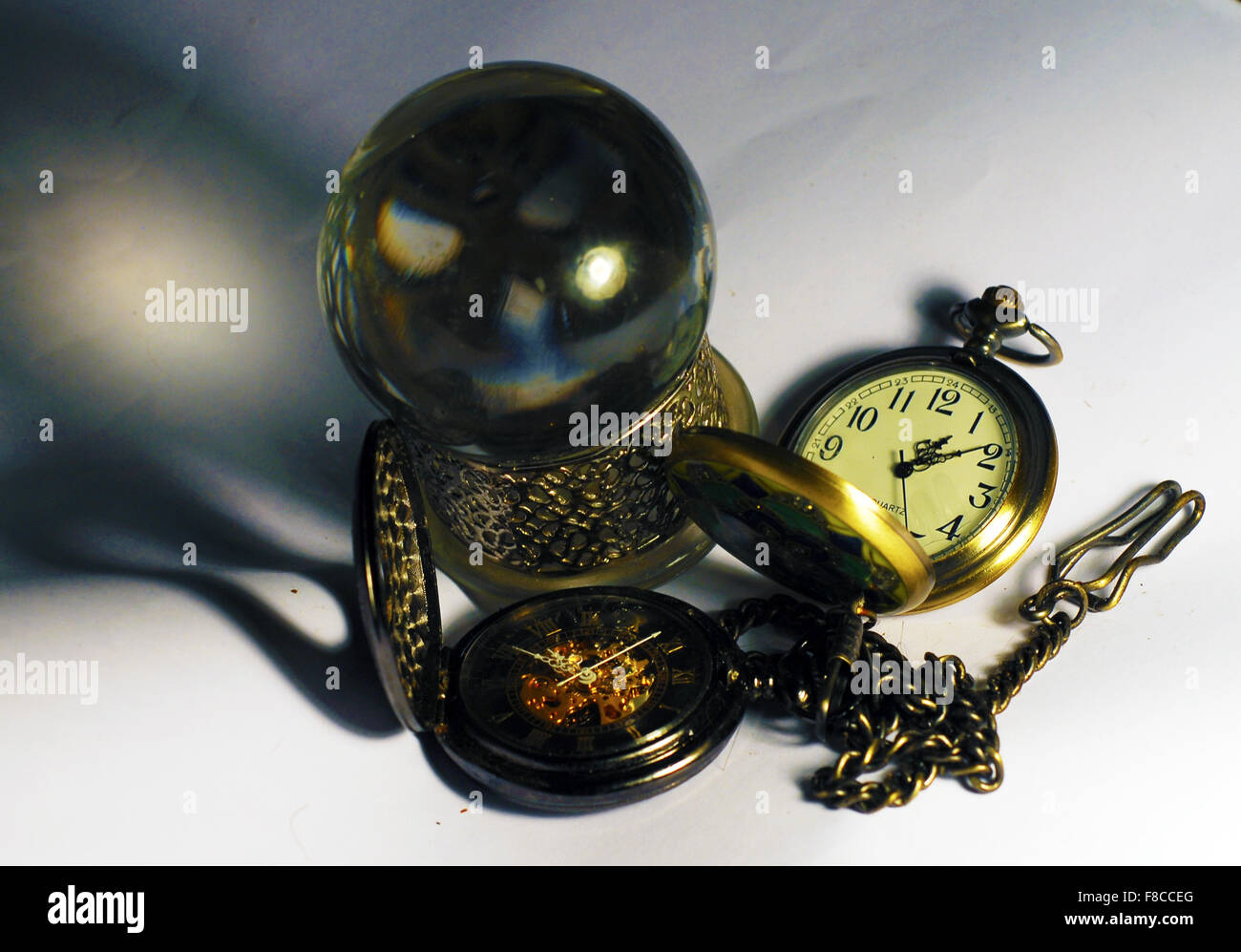 crystal ball,fobwatches,time,fortune telling,chain - Stock Image