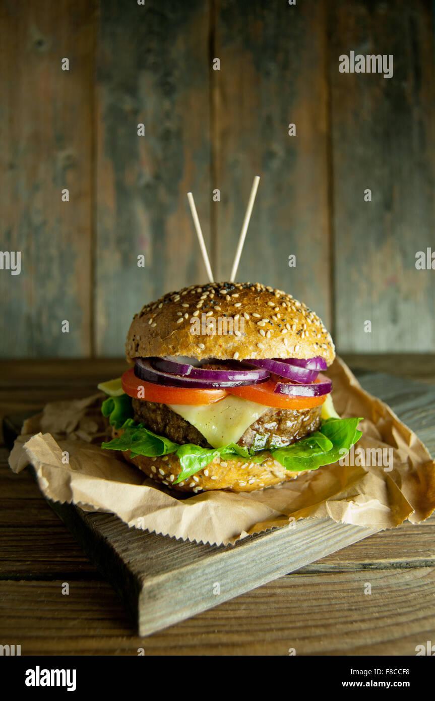 Gourmet burger - Stock Image