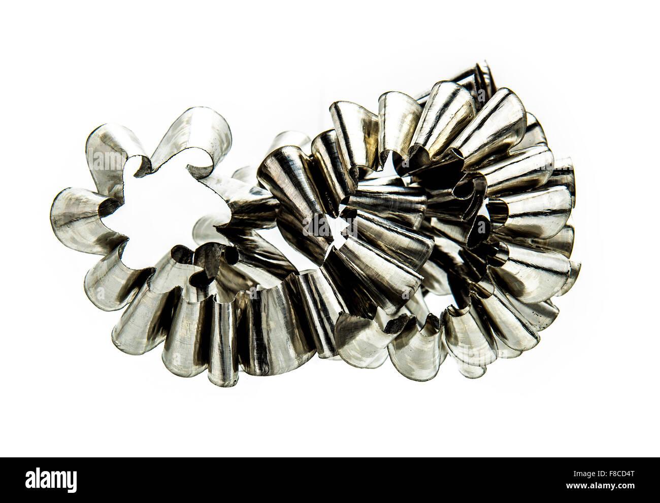 Metal Swarf on white  background - Stock Image