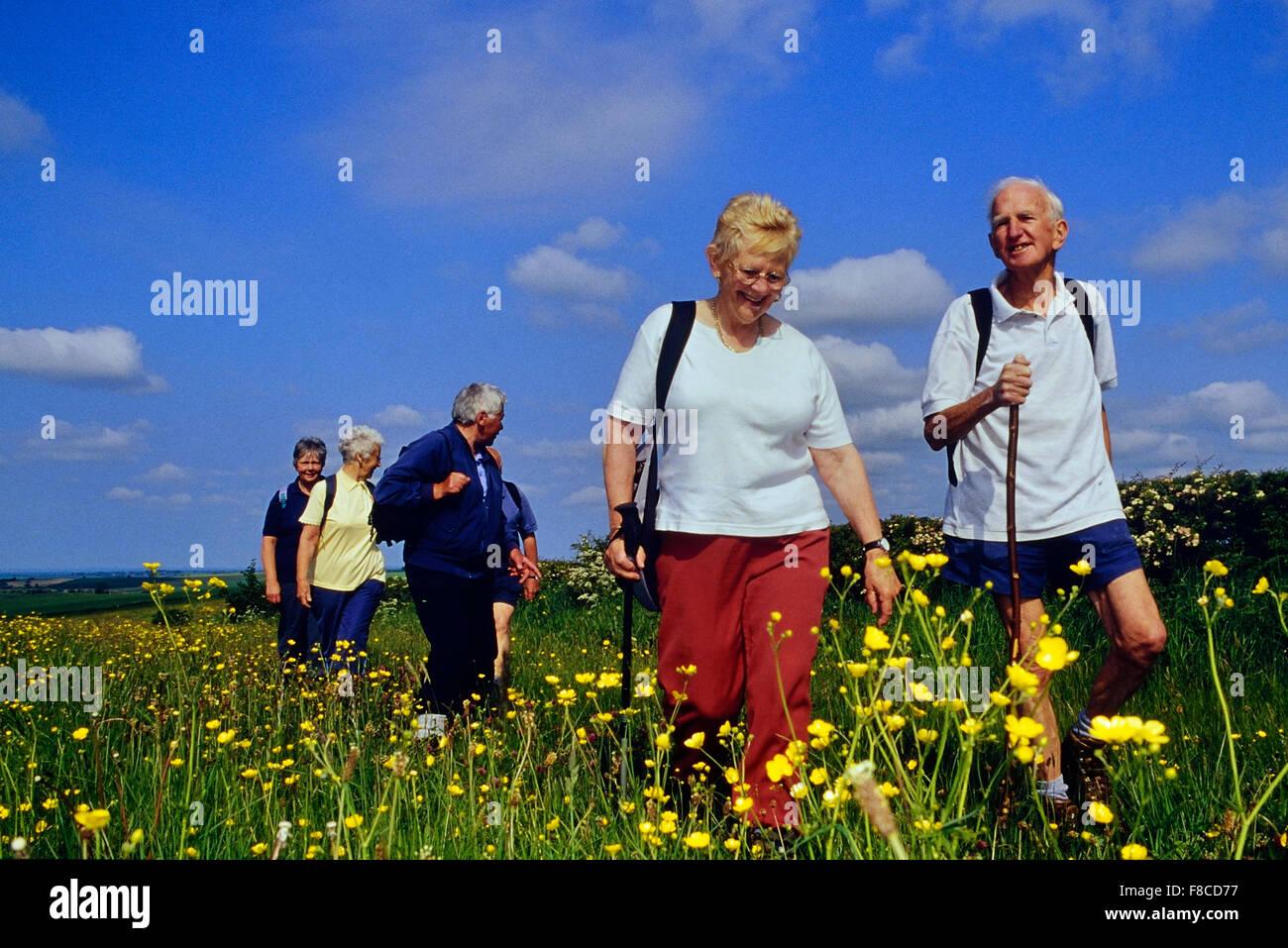 Elderly ramblers. Lincolnshire Wolds. England. UK - Stock Image