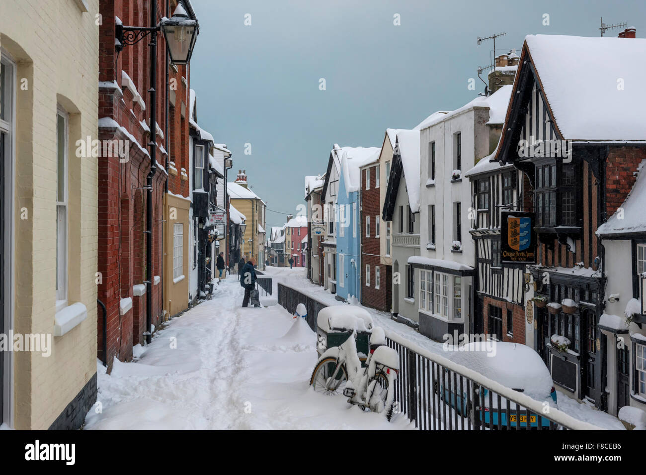 Snow covered All Saints Street, Hastings old town, East Sussex, England, UK - Stock Image
