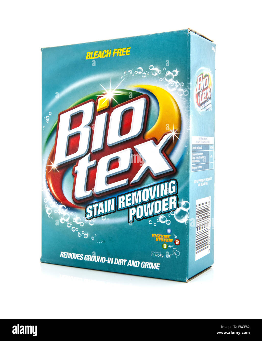 Box of  Bio Tex bleach free stain removing powder on a white background - Stock Image