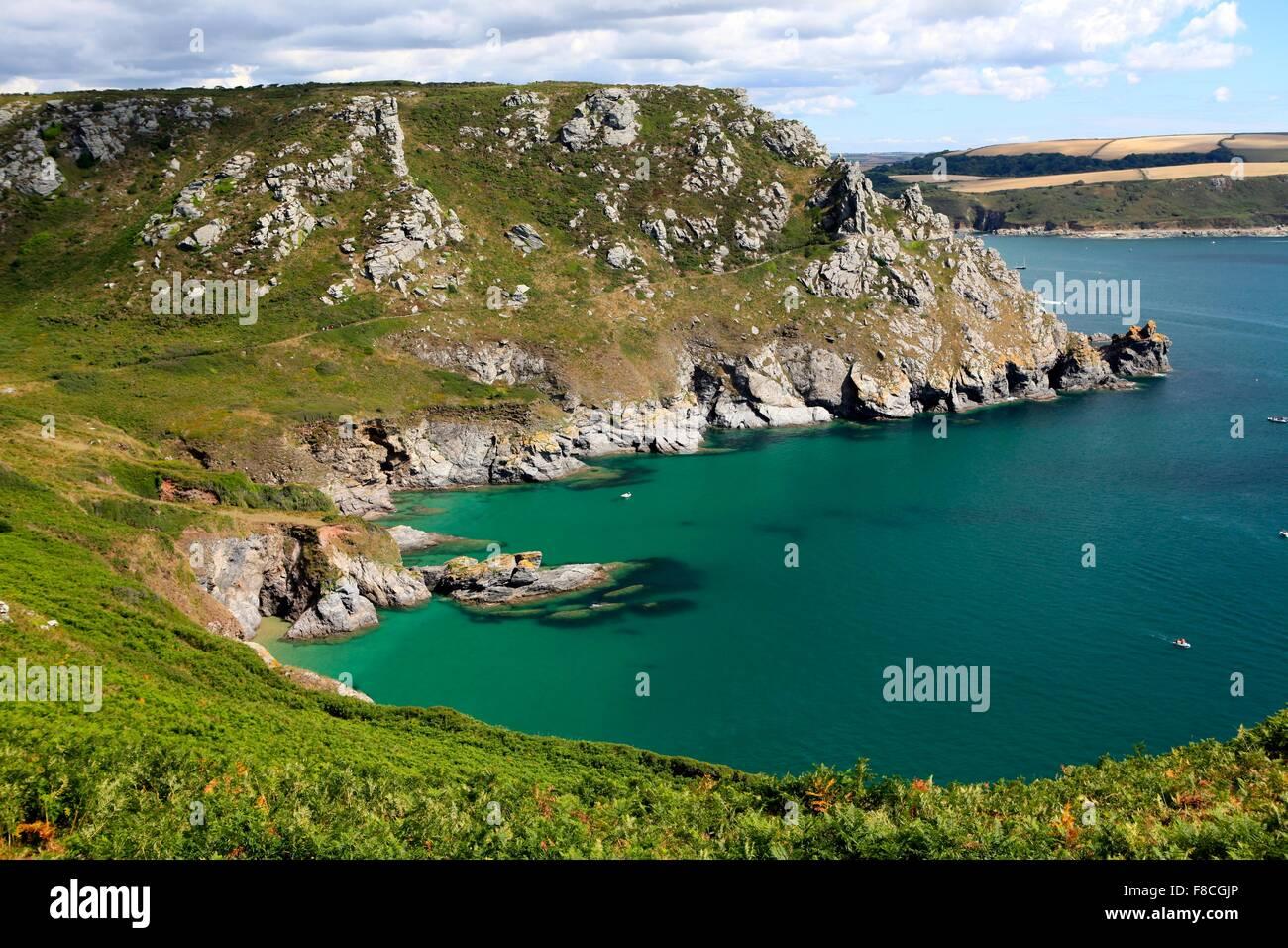 Beautiful light at Starehole Bay, Near Salcombe, South Hams, Devon, England, UK - Stock Image