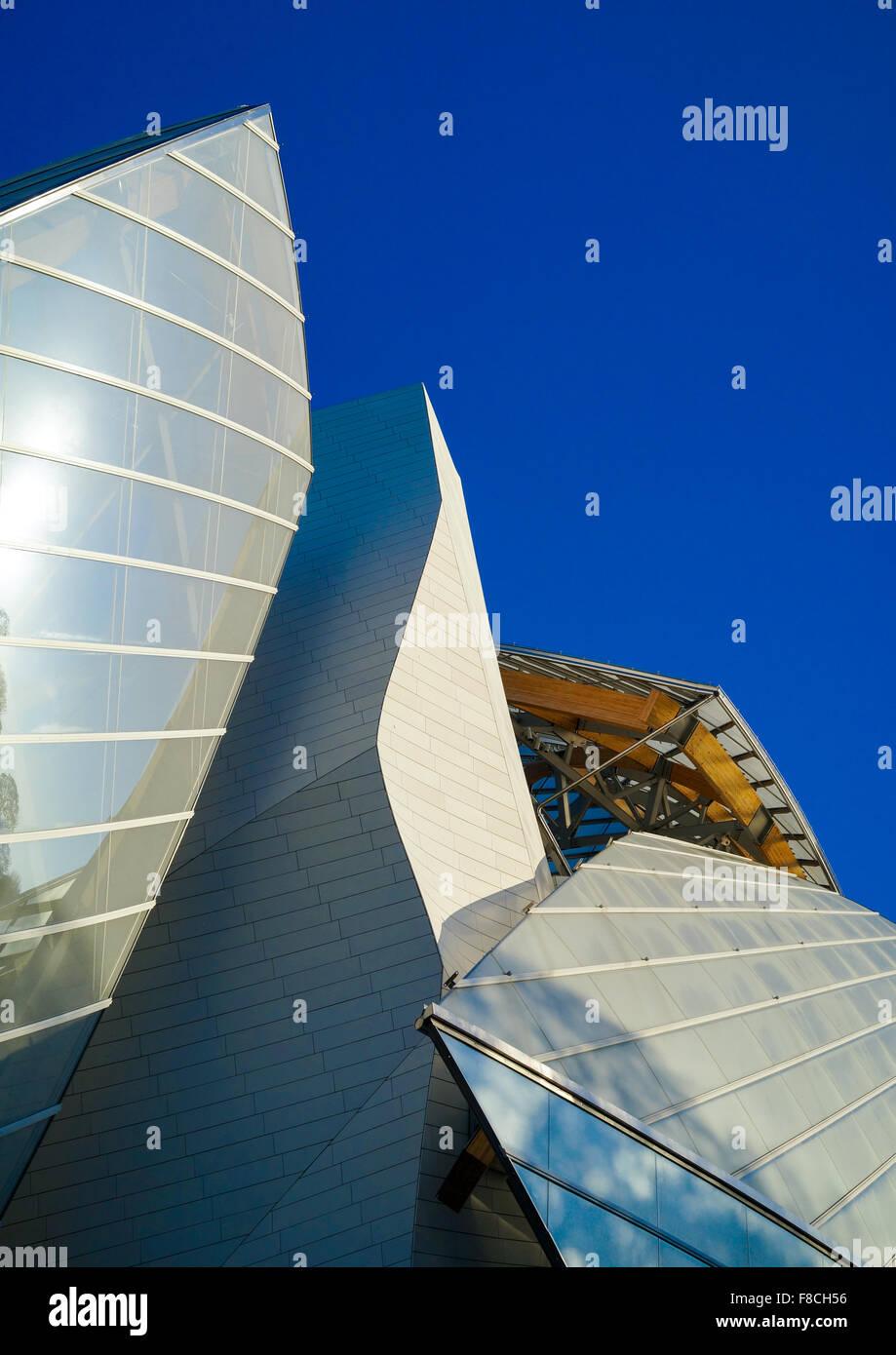 Detail Of Glass Sails Of The Louis Vuitton Foundation Museum Built By Frank Gehry, Bois De Boulogne, Paris, France - Stock Image
