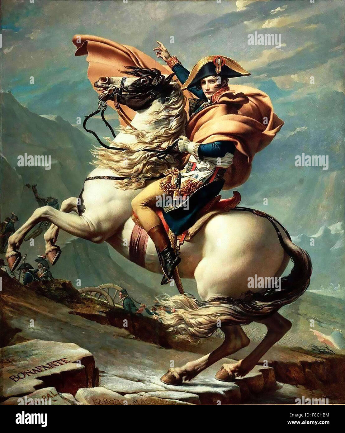 NAPOLEON CROSSING THE ALPS  1805 painting by Jacques-Louis David - Stock Image