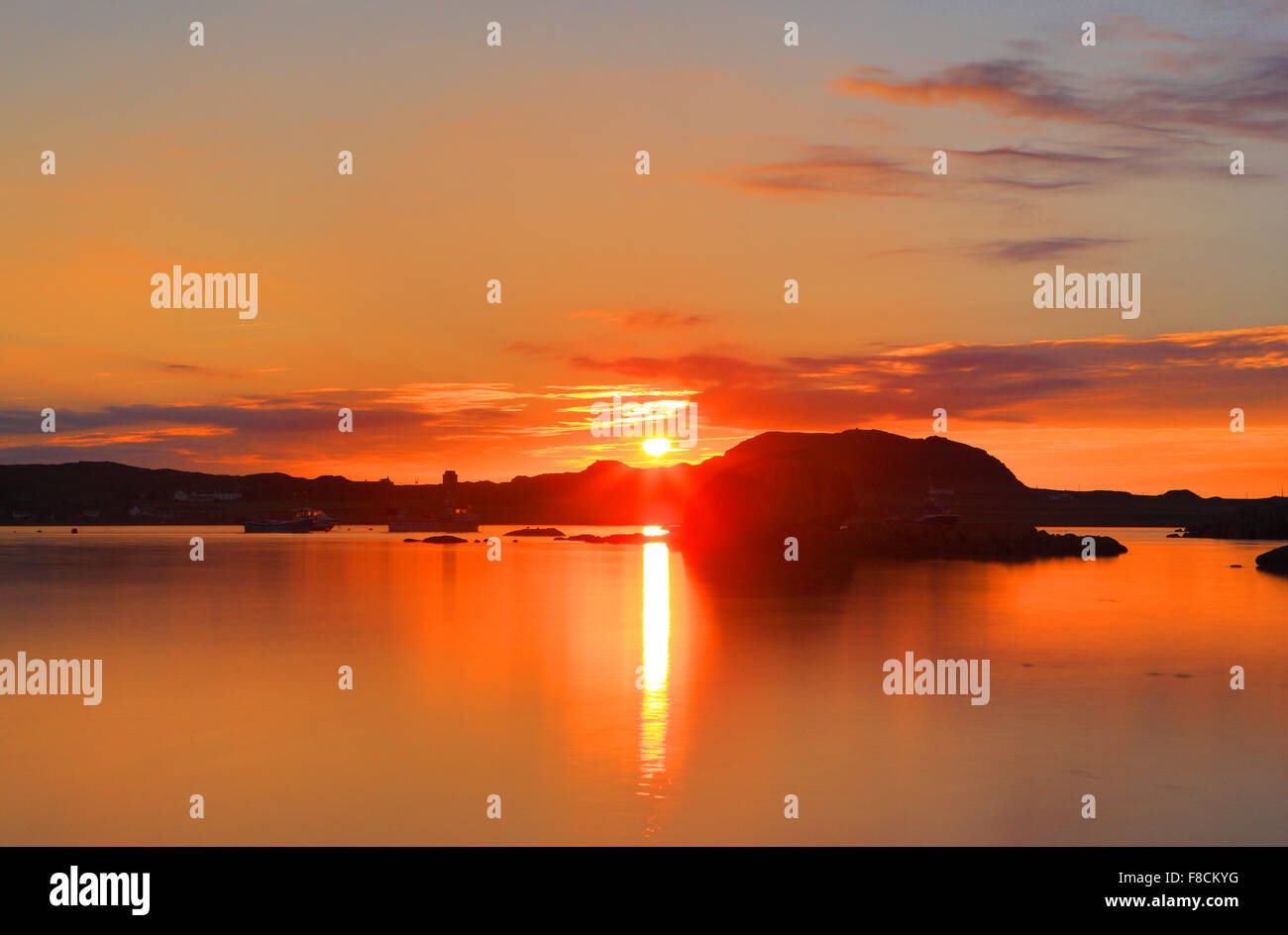 Sunset over Iona in the Inner Hebrides of Scotland - Stock Image