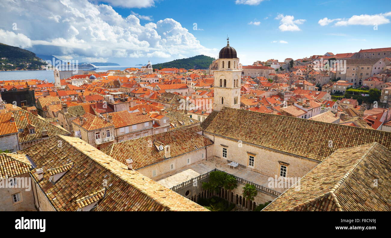 Aerial view of Dubrovnik Old Town, Croatia - Stock Image