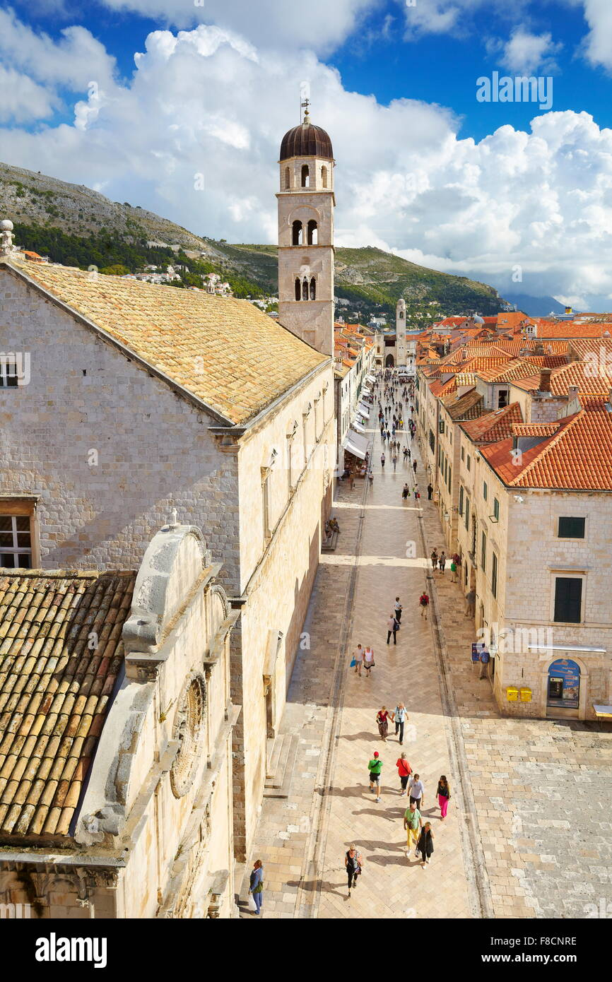 Dubrovnik, Stradun Street, main place in Dubrovnik Old Town, Croatia - Stock Image