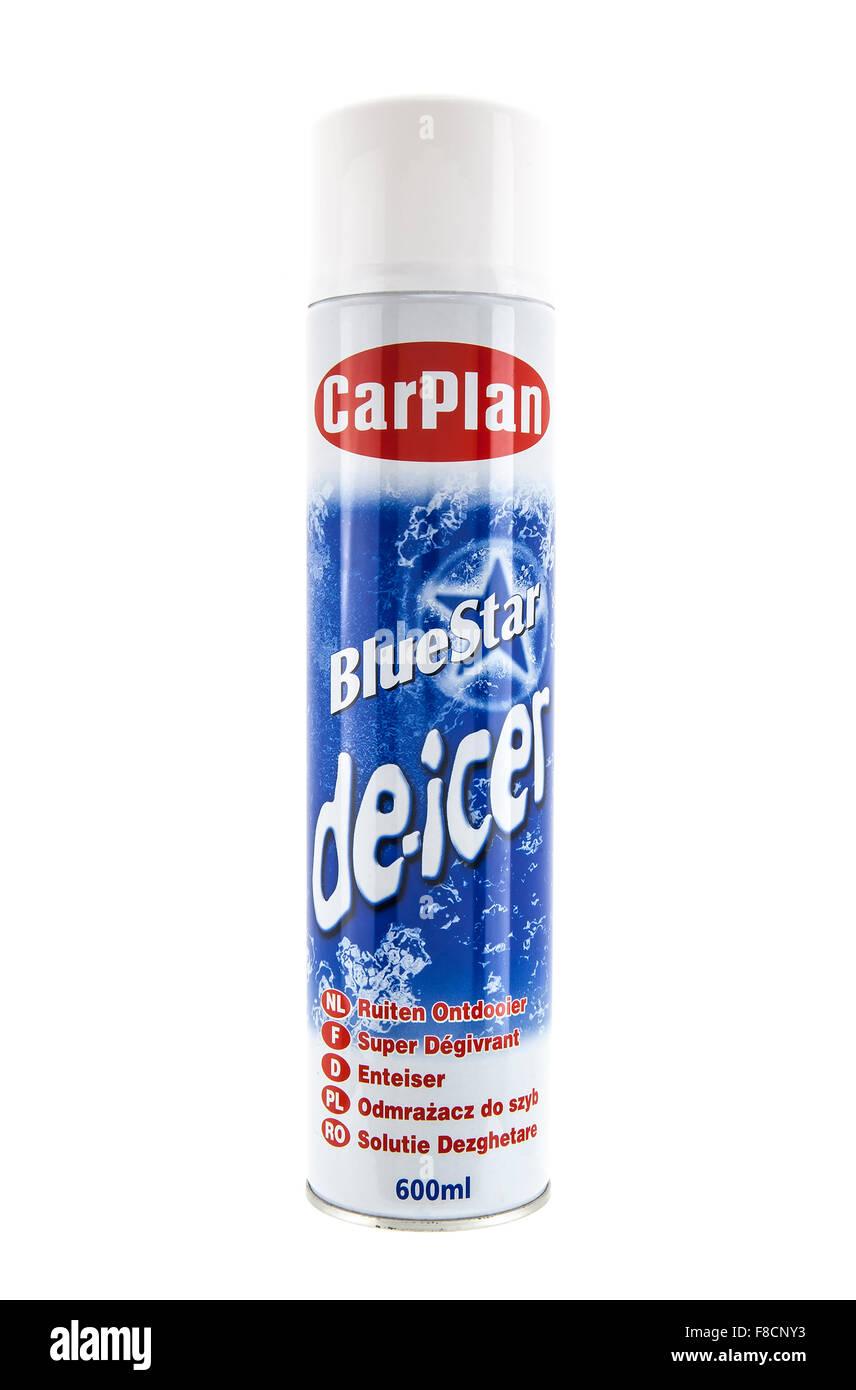 Car Plan 600 ML de-icing aerosol on a white background - Stock Image