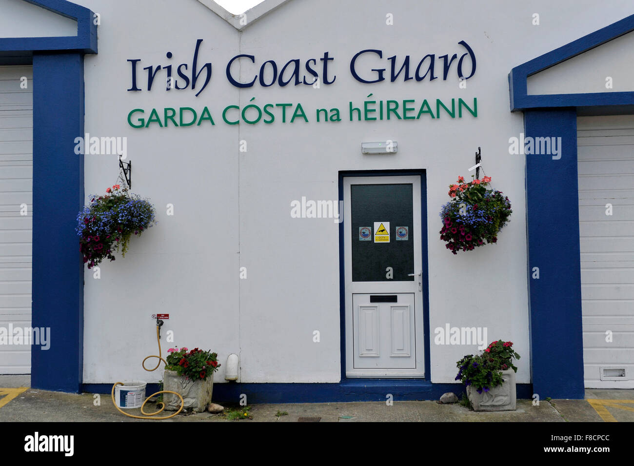 Exterior of Irish Coast Guard station in Green Castle, County Donegal, Ireland - Stock Image
