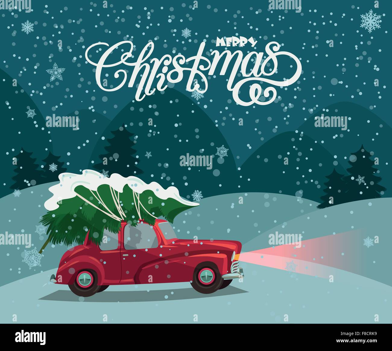 Merry Christmas Illustration Landscape Card Design Of Retro Red Car With Tree On The Top
