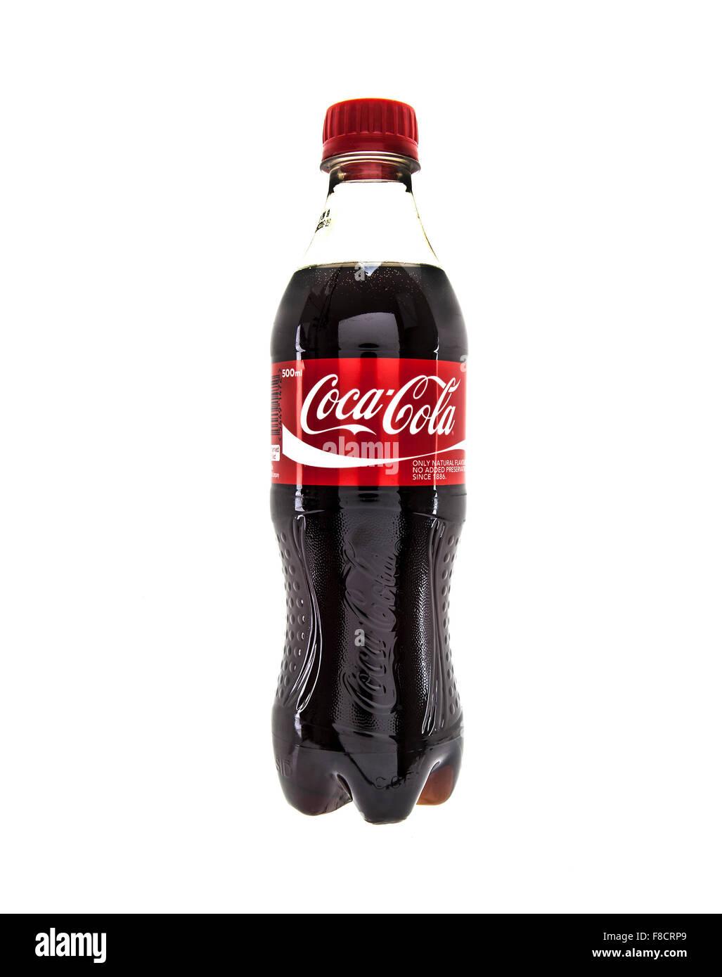 Coca-Cola Bottle on White Background - Stock Image