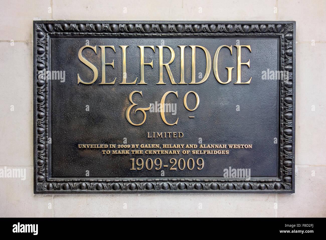 Selfridges London - Selfridge & Co sign, Oxford Street, London - Stock Image