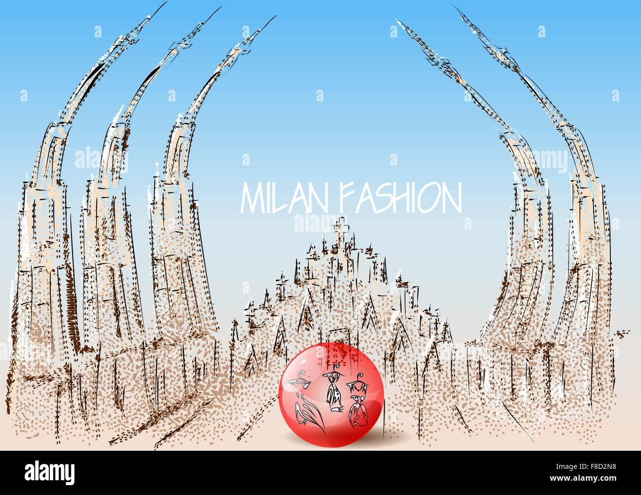 milan fashion. abstract roof of cathedral and ball with dress - Stock Vector