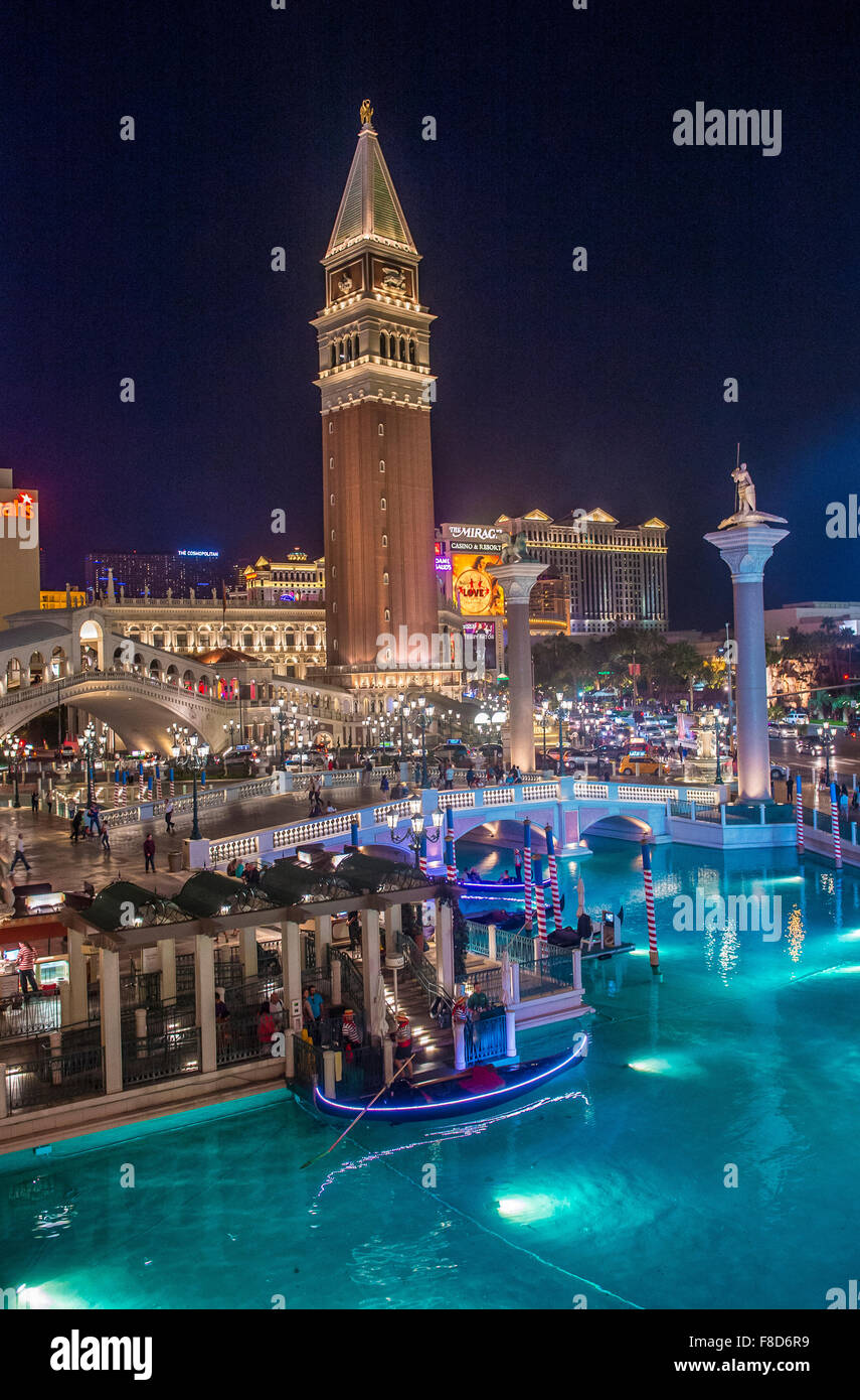 The Venetian hotel and replica of a Grand canal in Las Vegas - Stock Image