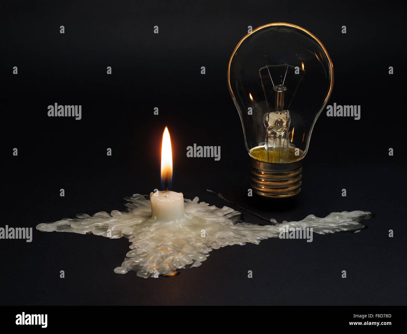 Blackout. Crimea without power supply from Ukraine.A candle melted In the shape of Crimea symbolizes the disconnection - Stock Image
