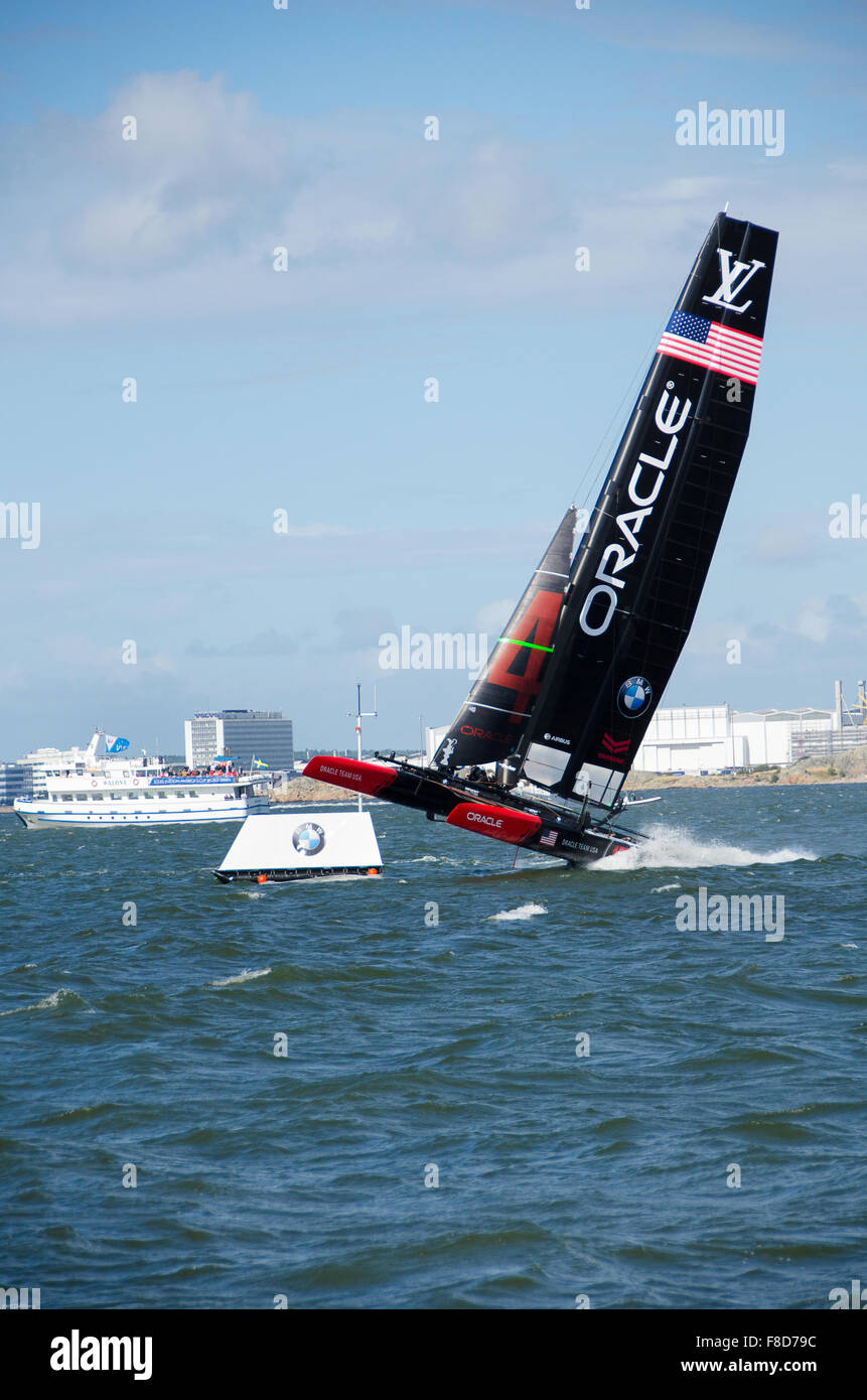 one very fast boat sailng in americas cup in sweden - Stock Image