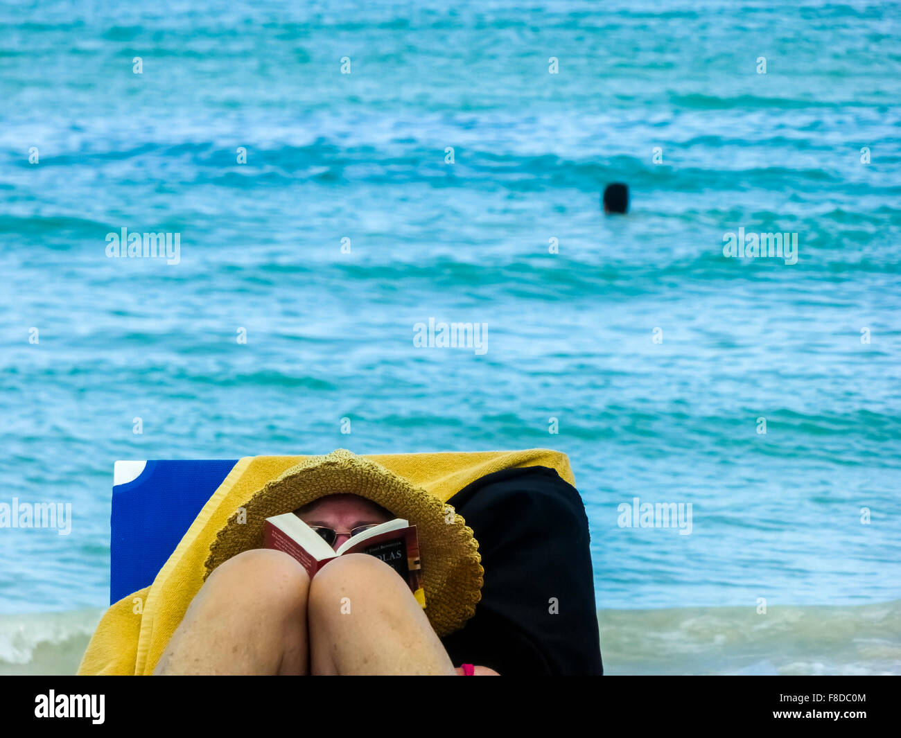tourist while reading a book, sunbathe on loungers, reading on vacation in Varadero, Cuba, North America, Matanzas, - Stock Image