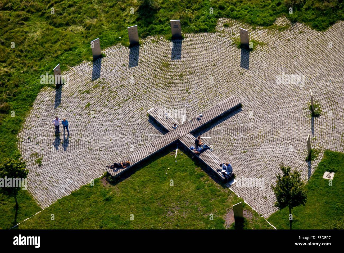 Tippelsberg with summit cross, Bochum, Ruhr area, North Rhine-Westphalia, Germany, Europe, Aerial view, birds-eyes - Stock Image