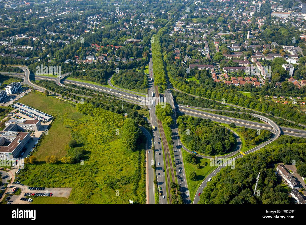 Stadtkrone Ost junction A40 and B236, highway, city highway, Westfalendamm, B1, Ruhrschnellweg, Dortmund, Ruhr area, - Stock Image