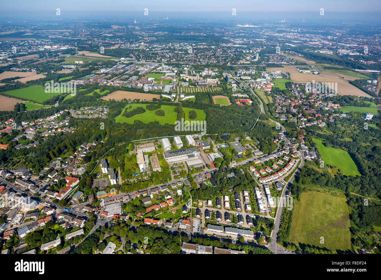 entire university in the foreground Campus South, University of Dortmund, Dortmund Campus,, Ruhr, Nordrhein-Westfalen, - Stock Image
