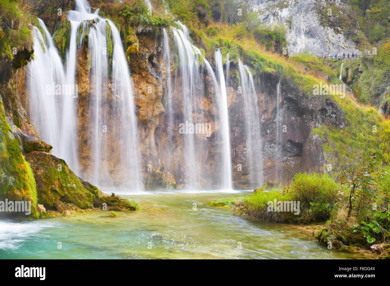 Waterfall in Plitvice Lakes National Park, Croatia, UNESCO - Stock Image