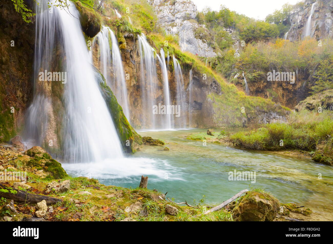 Croatia - Waterfalls in Plitvice Lakes National Park in autumn, UNESCO - Stock Image