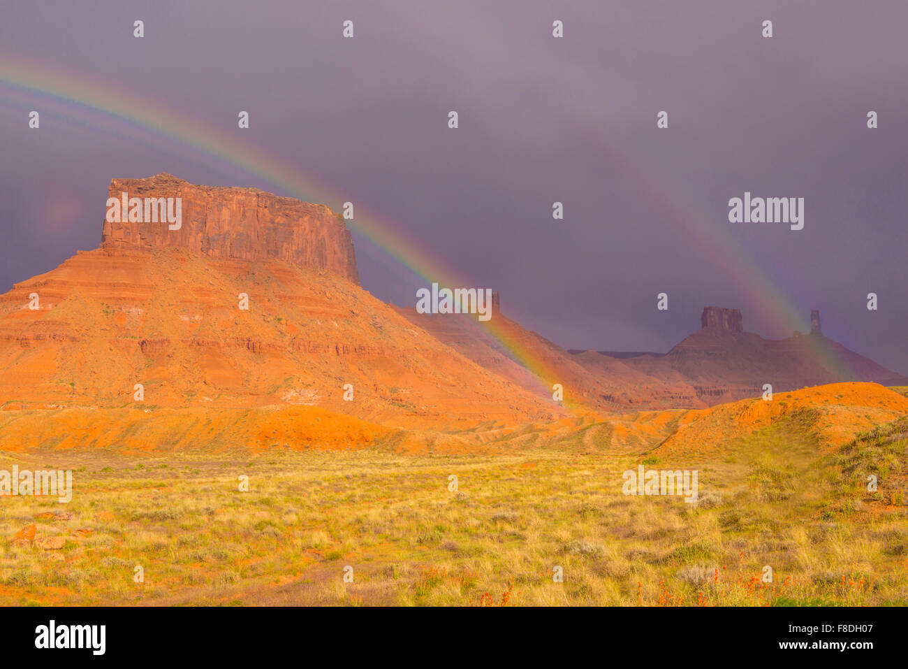 Rainbows in Richardson Amphitheater, Utah Near Colorado River, Moab, Castle Rock - Stock Image