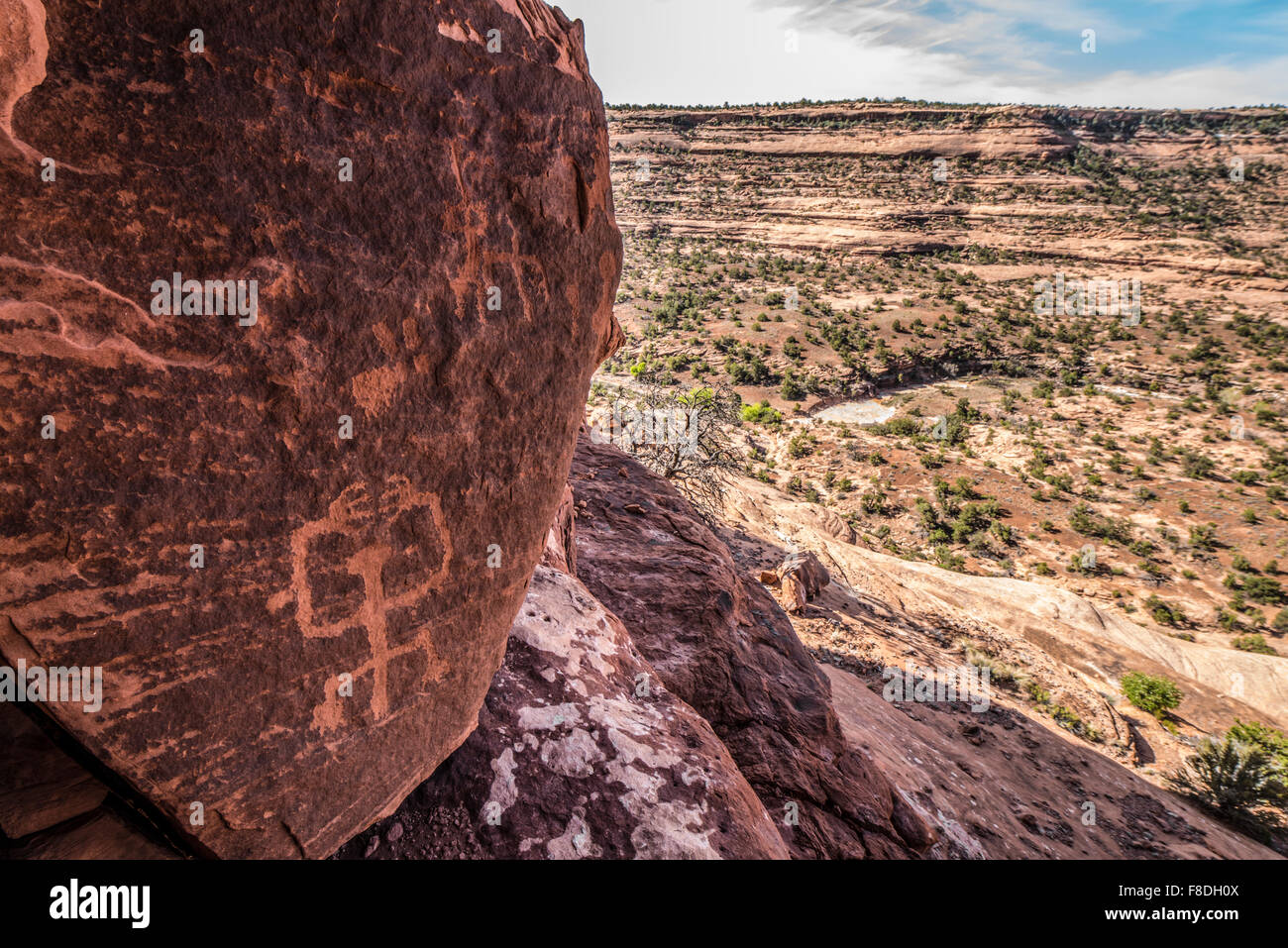 Ancestral Puebloan petroglyphs, Ancient rock art, Souhtern Utah  Proposed Wilderness, Park Stock Photo