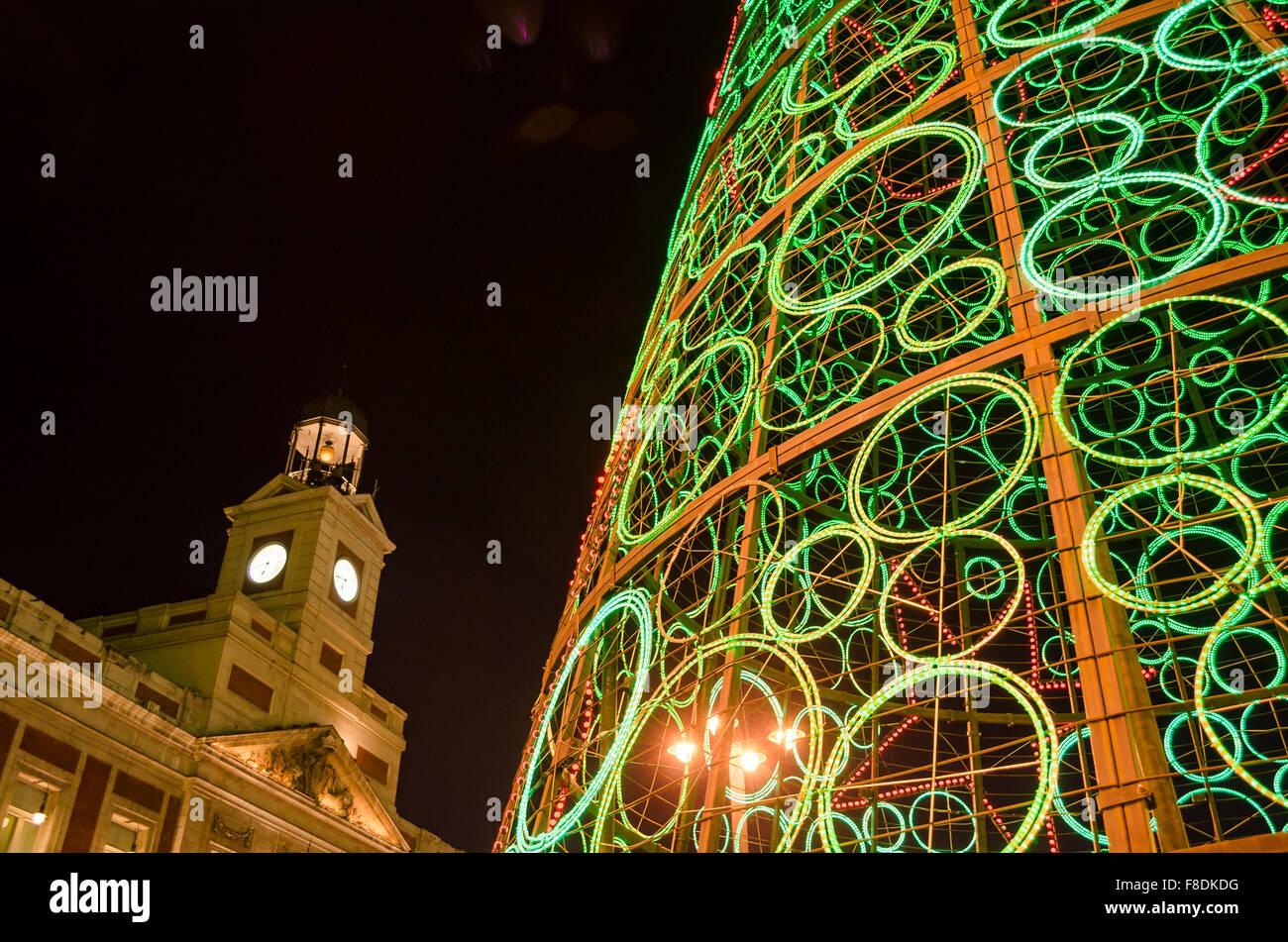 Christmas lights in Madrid. Spain. Europe - Stock Image