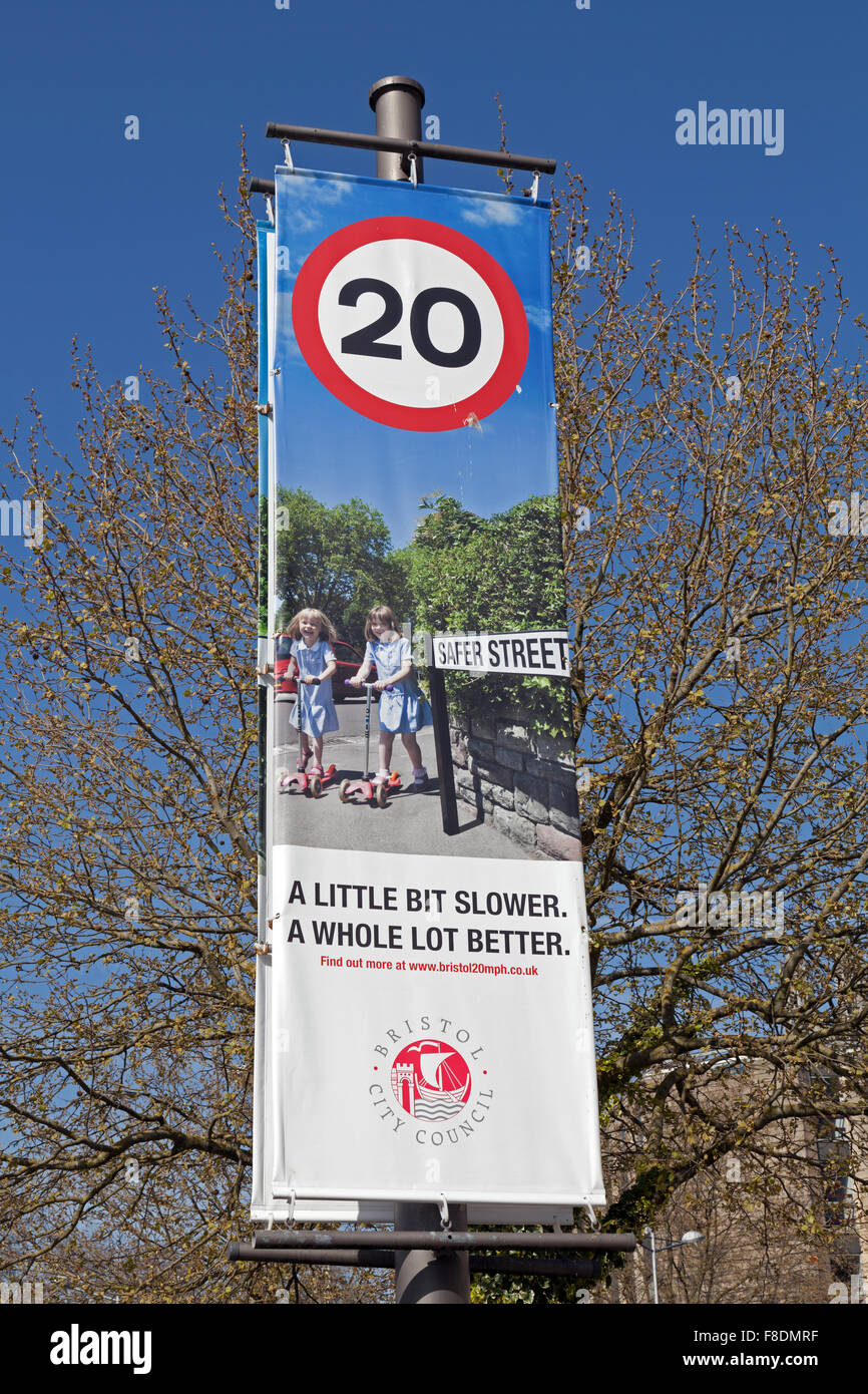A banner publicising the introduction of 20 mph speed limits in Bristol, England - Stock Image