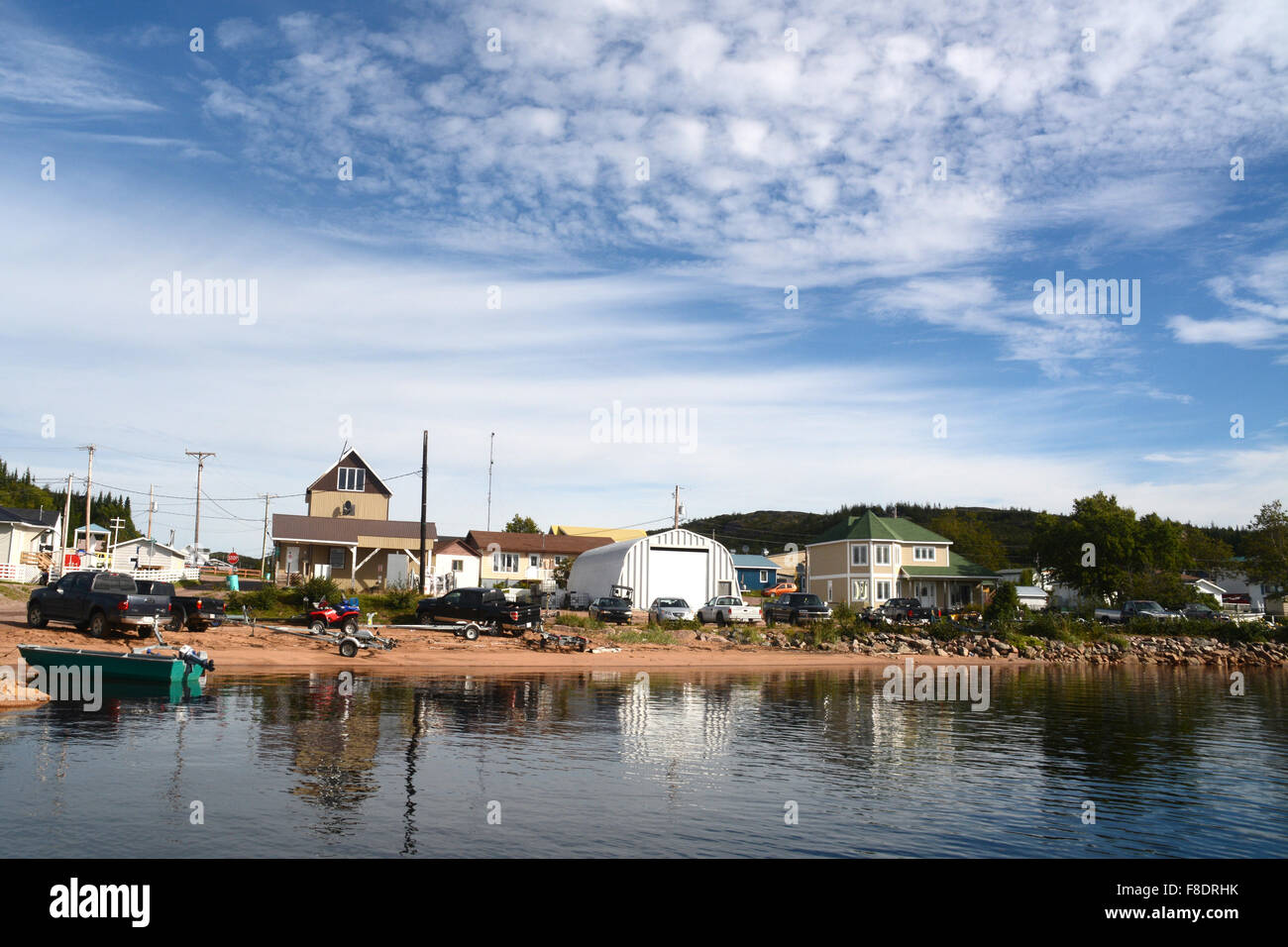 The village of St. Augustine, located on the Gulf of St. Lawrence in the Lower North Shore region of Quebec, Canada. - Stock Image