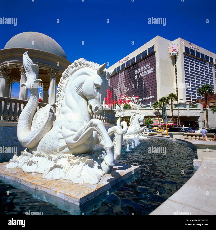 Las Vegas, Nevada, USA - Caesars Palace Fountain and Flamingo Las Vegas Hotel and Casino along The Strip (Las Vegas Stock Photo