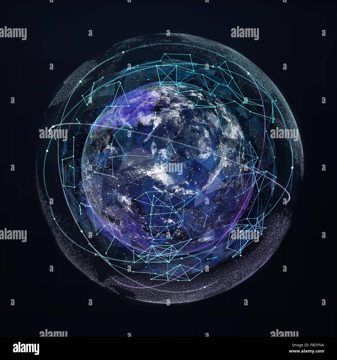 Earth planet global network communication. Satellite night navigation Stock Photo