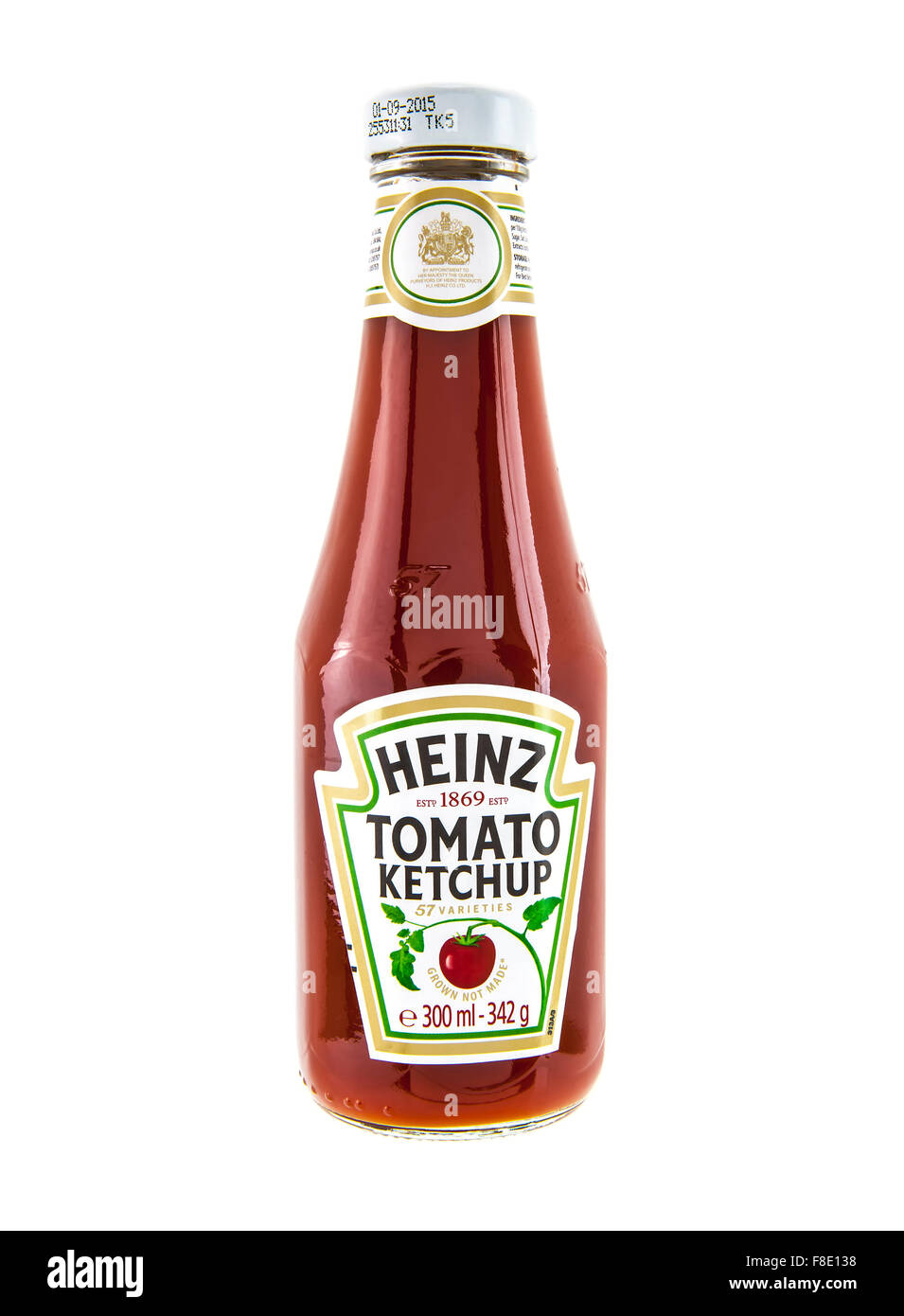 Heinz Classic bottle of Tomato Ketchup on a white background - Stock Image