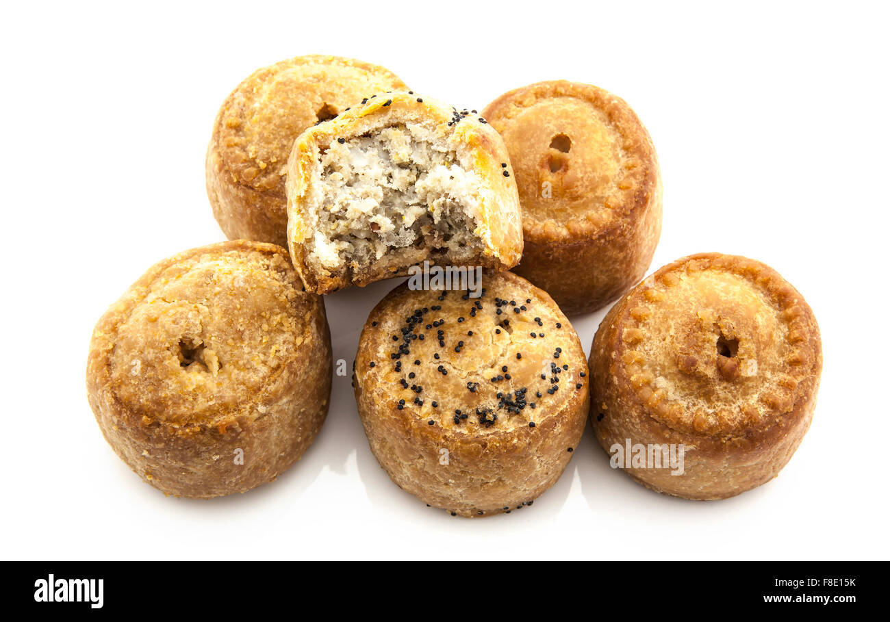 Selection of Pork Pies on a white background - Stock Image