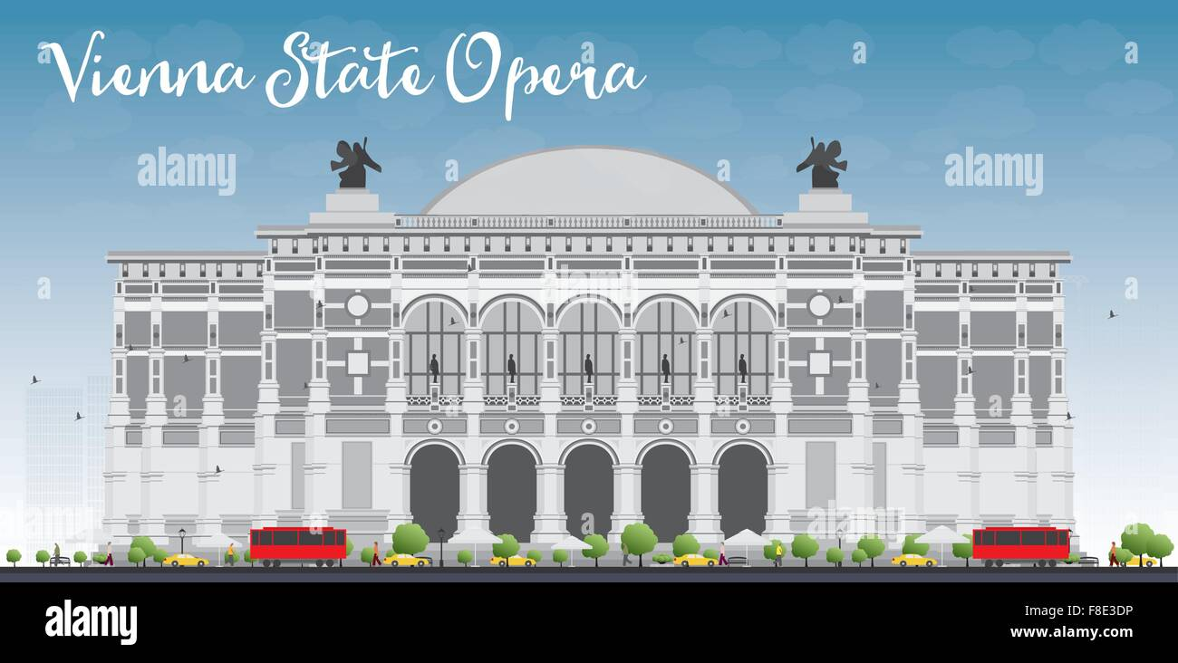 Vienna State Opera. Vector illustration. Business and tourism concept with landmark. Image for presentation, banner, - Stock Vector