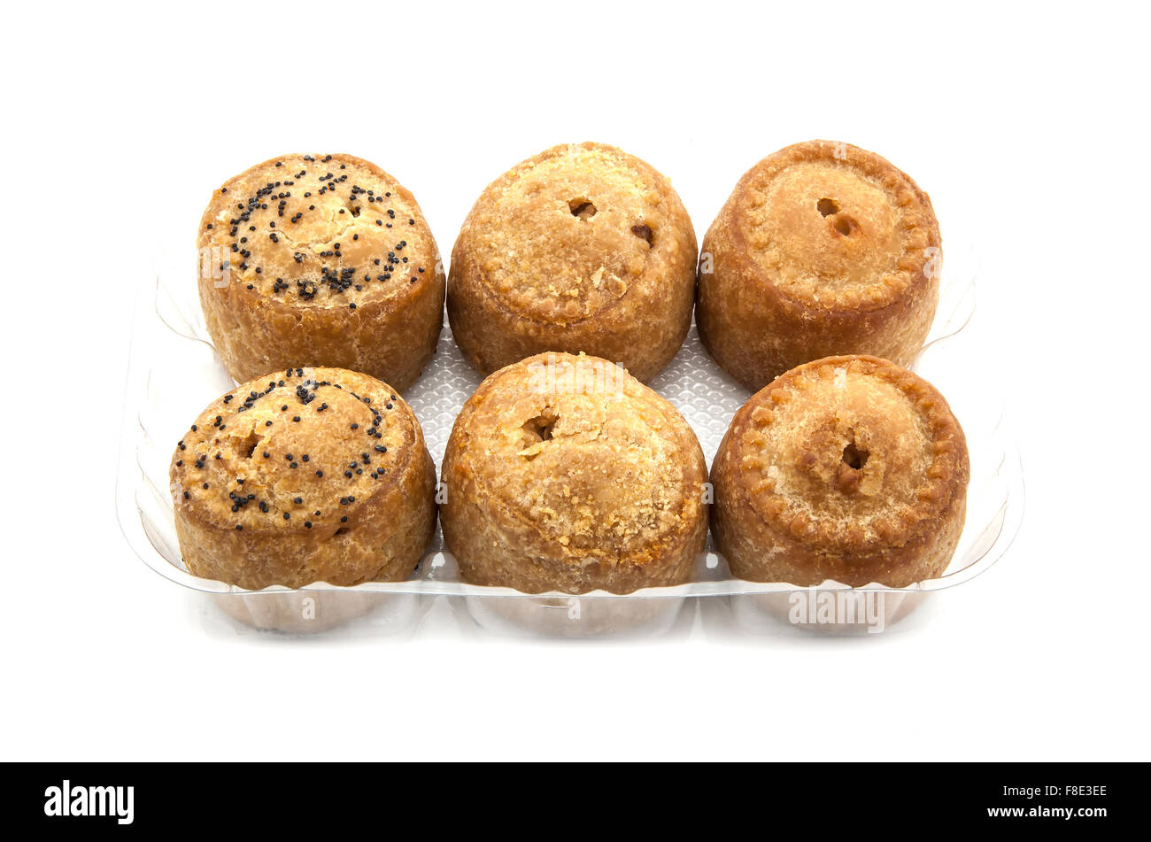 Selection of six  Pork Pies on a white background - Stock Image