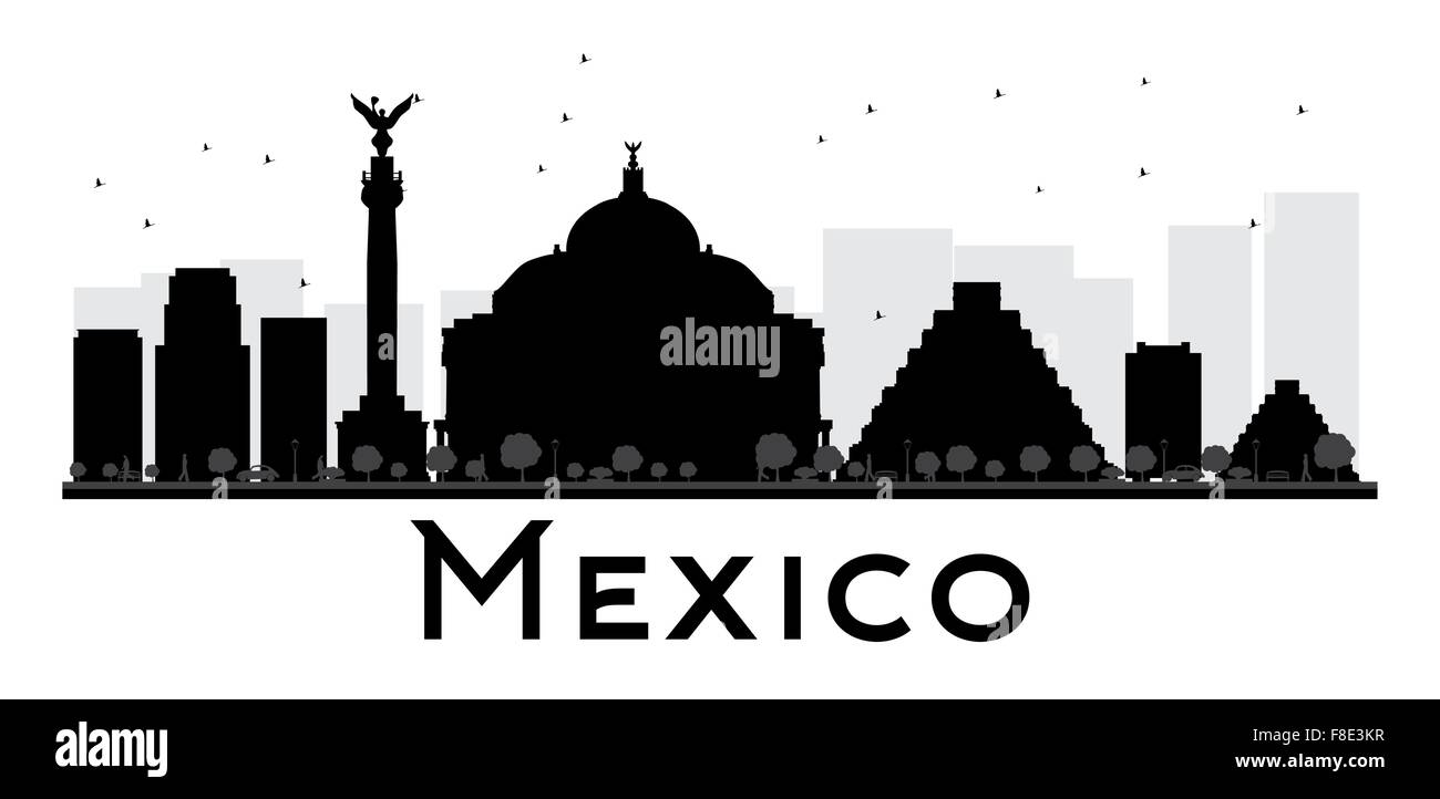 Mexico City Skyline Black And White Silhouette. Vector